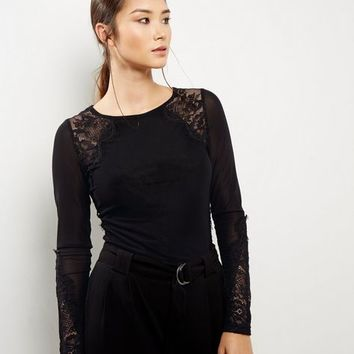 Black Lace Panel Long Sleeve Top