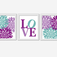 Baby Girl Nursery Wall Art Purple Lavender Teal Flower Burst Girl Room Floral Wall Decor Baby Girl Flower Wall Decor Dahlia Mums Girl Prints