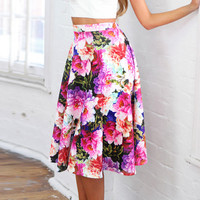 Multi Floral Printing High Waist A-line Skirt