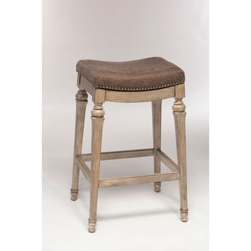 5606-830 Vetrina Backless Non-Swivel Bar Stool with Grey Fabric