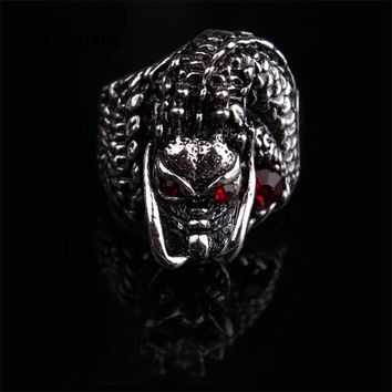 Bamos Male Punk Dragon Thumb Finger Ring Vintage Black Animal Red Stone Rings For Men Personalized Exaggerated Jewelry Best Gift