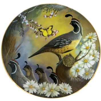 Vintage Maytime GAMBEL QUAIL Collector Plate by Larry Tochik