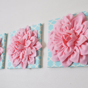 "THREE Nursery Wall Hangings- Light Pink Dahlia on Blue Tarika 12 x12"" Canvas Wall Art- Baby Nursery Wall Decor-"