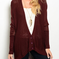 Kylie Wine Oversized Cardigan