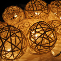 Handmade White Rattan ball String Lights Fairy lights Party Decor Wedding Garden Spa and Holiday Lighting