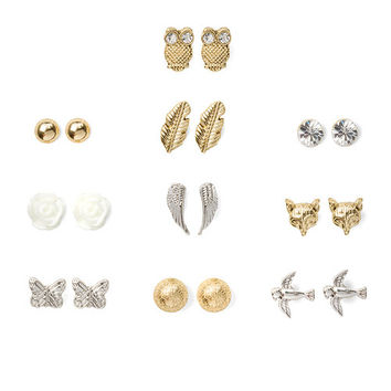 Assorted Woodland Stud Earrings Set of 10