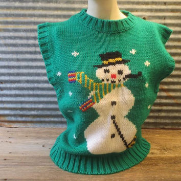 Vintage Ugly Christmas Sweater / Snowman Sweater Vest / Holiday Green Pullover / Size Medium to Large / Xmas