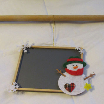 Unique One of a Kind Holiday Snowman Chalkboard (Count the Days Till Christmas) With Snowflakes and Bling
