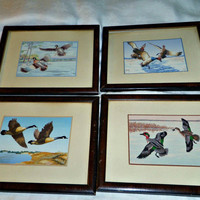 "Original Oil Paintings, Waterfowl Ducks, Geese, (4) Vintage  Framed 1950s Signed 8.75"" x 6.75"""