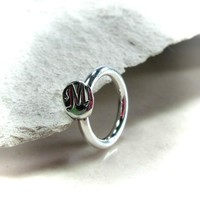 Belly Ring Sterling Silver Monogram 12mm
