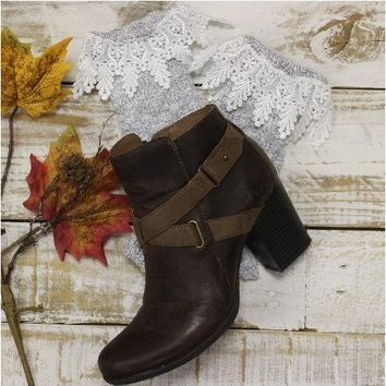 CHIC short lace boot socks - granite grey