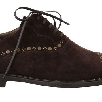 Dolce & Gabbana Brown Leather Wingtip Studded Derby Shoes