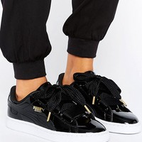 Puma Basket Heart Trainers In Patent Black at asos.com
