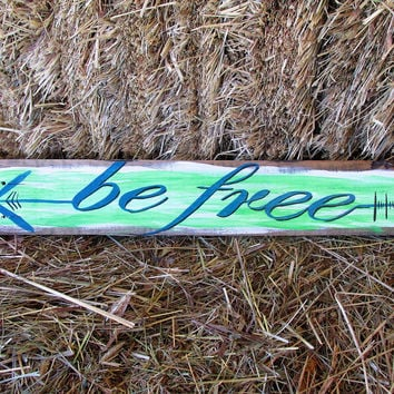 Arrow Sign Decor, Wooden Sign Arrow Wall Decor, Be Free Quote
