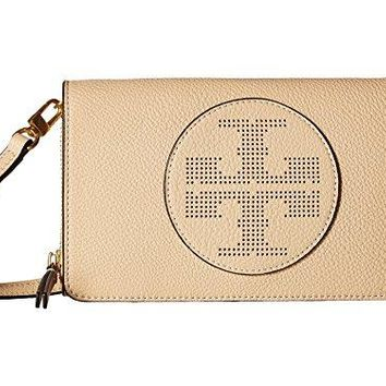 Tory Burch Leather Perforated Logo Flat Wallet Crossbody, Sand Dune