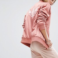 adidas Originals Logo Back Bomber Jacket In Dusky Pink at asos.com