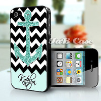 Personalized Mint Glitter Anchor Black Chevron -  iPhone 5 or iPhone 4 Case. FREE SHIPPING - Worldwide.