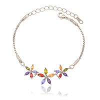 U7 Zirconia Flower Bracelets Wholesale 18K Gold Plated Box Chain Romantic Colorful Zircon Bracelets & Bangles Gift For Girl H416