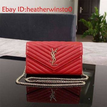 CREYDC0 YSL Envelope Quilted Leather 22cm Red Shoulder Bag