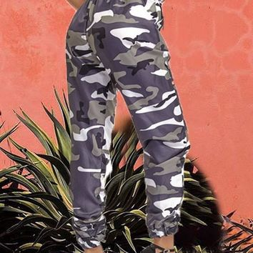 Army Green Camo Print Drawstring Pockets High Waisted Cargo Casual Long Pants