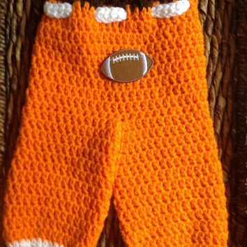 Cleveland Browns Theme Crochet Newborn Baby  Football Pants