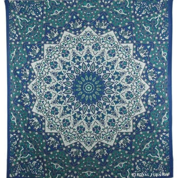 Queen White & Blue Indian Mandala Star Dorm Decor Hippie Tapestry Wall Hanging Bedspread