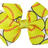 "Hip Girl Boutique 1pc Small 3"" Softball Grosgrain Ribbon Pinwheel Hair Bow on Lined Alligator Clips-One Size: Clothing"