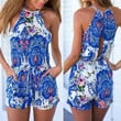 Blue and White Print Summer Romper