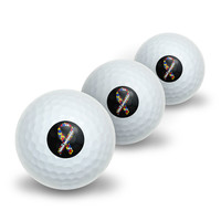 Autism Awareness Ribbon on Black Novelty Golf Balls 3 Pack