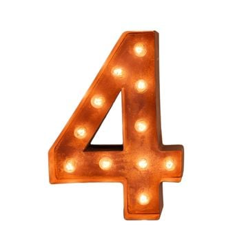 "12"" Number 4 (Four) Sign Vintage Marquee Lights"
