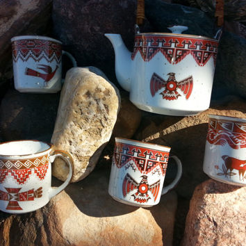 SALE Unique Southwestern Vintage Stoneware Himark Coffee Mug & Teapot Set - Very Cool!