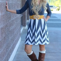 Half & Half Grey Color Block & Chevron Dress