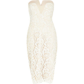 River Island Womens Light pink lace overlay bandeau pencil dress