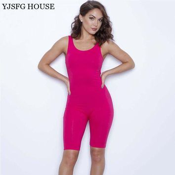 LMFCI7 YJSFG HOUSE Summer Solid Sexy Jumpsuits O-Neck Sleeveless Dancing Rompers Women Bodysuits Midi Skinny Pants Bodysuits Playsuit