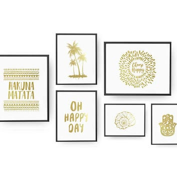 SET of 6 Prints, Holiday Set, Home Decor, Palm Tree Print, Bedroom Decor, Hamsa Poster, Real Gold Foil Print, Seashell Print, Oh Happy Day