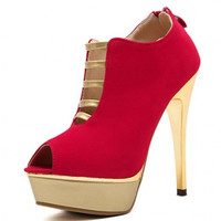 Fashion Round Peep Toe Strappy Hollow-out Platform Stiletto Super High Heels Red Basic Ankle Pumps