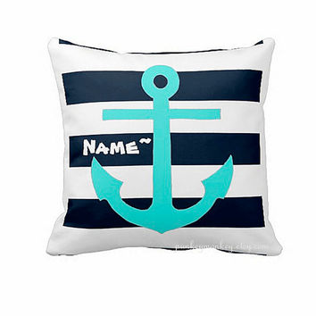 Nautical pillow 16x16 square toss pillow anchor beach theme ocean blue personalized