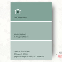 Printable Moving Announcement, Paint Swatch Moving Announcements, New Home Announcement