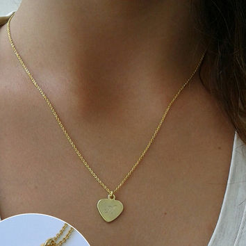Gold charm necklace, Gold necklace, Charm necklace, Layering necklace, Gift for her, Necklace, Delicate necklace, Initial necklace, Mother