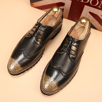 new 2017 men pointed toe oxfords brogues shoes retro vintage men dress shoes office business wedding shoes size 38-43
