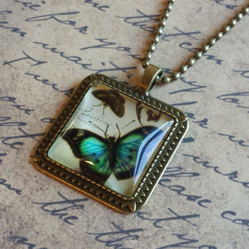 "Victorian Butterflies Steampunk Vintage Style Square Glass Cabochon Antiqued Brass Geometric Pendant Necklace 27"" Ball Chain #BFL-23"