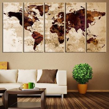 Canvas Art Print - Sephia Watercolor World Map on old Wall -  Large Wall Art Wood World Map Art, Extra Large World Map - MC128