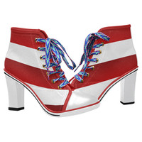 Red White Stripes Women's Lace Up Chunky Heel Ankle Booties (Model 054) | ID: D2317502