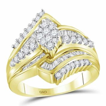 14kt Yellow Gold Women's Round Diamond Oval Cluster Bridal Wedding Engagement Ring 1.00 Cttw - FREE Shipping (US/CAN)