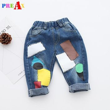 2018 Spring Jeans for Boy Patchwork Denim Pants Harem Jeans Trousers Fashion Kids Girls Jeans Baby Boy Jeans Elastic Waist Pants