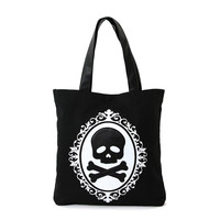 Black & White Cameo Skull & Crossbones Canvas & Vinyl Tote Bag