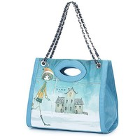 Buy Lovely Lip Girl House Pattern Double Use Bag Blue with cheapest price|wholesale-dress.net