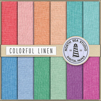 Linen Digital Paper Linen Canvas Texture Fabric Pattern Natural Pastel Red Blue Pink Green Orange Linen Backgrounds 12 x 12 Digital Linen