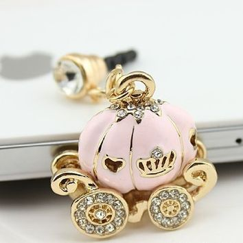 OOOUSE New Cinderella's Pumpkin Carriage Design 3.5mm Earphone Jack Dustproof Plug Ear Dust Cap for Iphone 4, 4s ,5, 5s ,Samsungi9100,i9300,i9500,galaxy S3/4 Note N7100,htc,nokia Lumia 920,sony, Blackberry,motorola ,Lg,lenovo, Ipod Touch / Ipad and Any 3.5