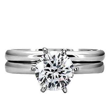 Bella: 1.25ct Brilliant-Cut Ice on Fire CZ 2 pc Bridal Wedding Ring Set 316 Steel, 3144 sz 6.0